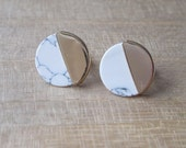 SALE Gold and White Marble earrings 'Orbit'