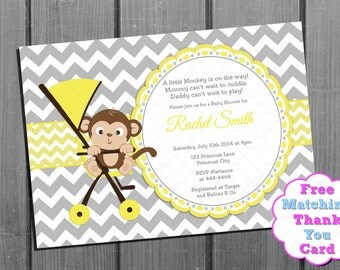 Yellow and Grey Monkey Baby Shower Invitation and FREE Thank You Card Printable DIY - Gender Neutral Gender Reveal