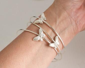 Butterfly bangle bracelets -  set of 3 bangles - spinning butterfly bracelet -solid sterling silver bangle - silver butterfly bracelet