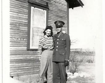 Old Photo Us Soldier and Woman Photographers Shadow 1940s Photograph Snapshot vintage
