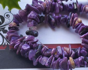 Natural Charoite Bead Strands, Chips, 4~8 mm, about 15.5""