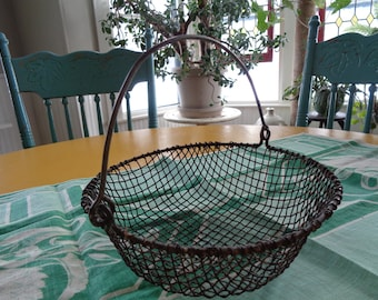 Early Vintage Wire Ware Basket With Handle