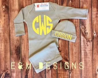 Baby Boy Coming Home Outfit/ Personalized Infant Baby Gown and Hat/ Monogrammed Baby Boy/ Baby Shower Gift/ Newborn Pictures/Yellow and Gray