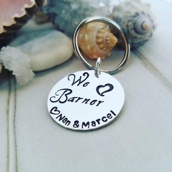 Personalized keychain, Sterling silver, Hand Stamped, Round Disc, Custom key chain, Sweet 16, First Car, New Driver Keychain, Stay safe keys