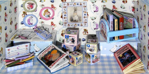 Beatrix Potter set, paper minis, DIY kit from paper in miniature for the Doll House, Doll House, dollhouse miniatures # 40048