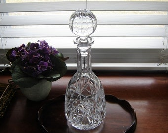 Vintage Lead Crystal Decanter wedding table decor party decor barware home decor crystal made in Poland