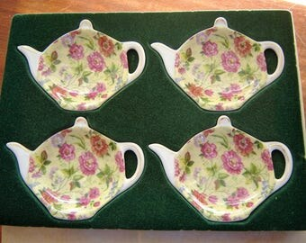 Chintzware teabag holders 4 pc set new in box Baum Bros Formalities china plates spoon rests