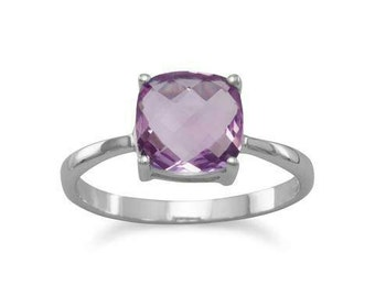 Rhodium plated sterling silver ring with 8mm soft square cushion cut amethyst. The band is 2mm. Sizes 5 - 9.