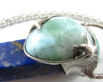 calypso - larimar, solar quartz & lapis lazuli crystal pendant