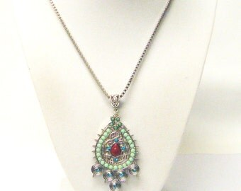 Silver Plated Tear Drop Filigree/Beaded Pendant Necklace