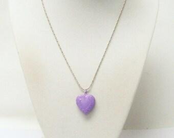 Purple Photo Heart Locket Pendant Necklace
