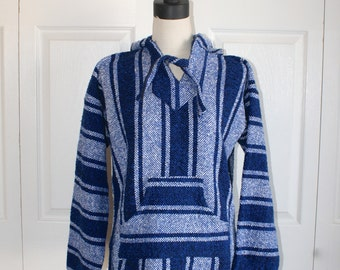 Vintage Woven Native Ethnic Mexican Hoodie Jacket . Blue White Boho Hippie Coat with Hood . Size Men's Medium