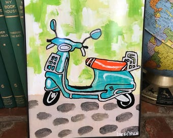 Vespa art print | motor scooter | fun art | retro inspired art | play room |retro rewind