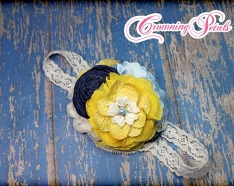 Navy, Yellow, Light Blue Headband, Sky Blue, White Hair Piece, Mustard Yellow Hair Clip, Baby Blue Hair Accessory, Fabric Flower Hairbow