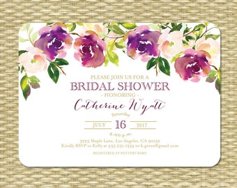 Printable Bridal Shower Invitation Wedding Shower Invite Watercolor Floral Burgundy Gold Purple Floral Bridal Tea Garden Party ANY EVENT
