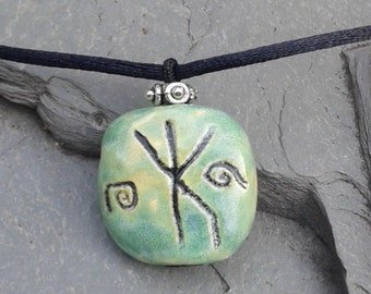 Men's Rune Necklace Norse Bind Rune Pendant Protection Strength Turquoise Ceramic Stone Bead Pottery Jewelry Ancient Symbol
