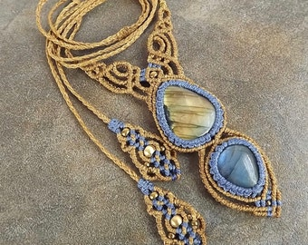 Macrame Necklace, Labradorite Necklace, Gold Flash, Blue Flash, Golden Brown and Blue Thread