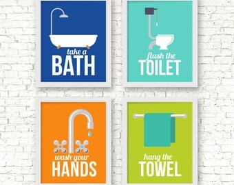 Retro bathroom Art Prints, Bathroom rules art prints, take a bath, wash your hands, flush the toilet,brush flush wash, home decor, A-4007
