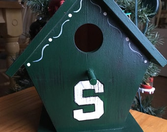 MSU Michigan state birdhouse green and white hand painted wooden bird house
