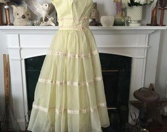50s Yellow Chifffon Summer Garden Party Dress