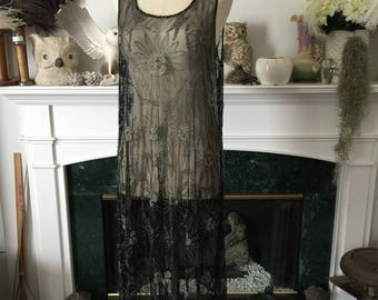 20s Beaded Net Flapper Party Dress