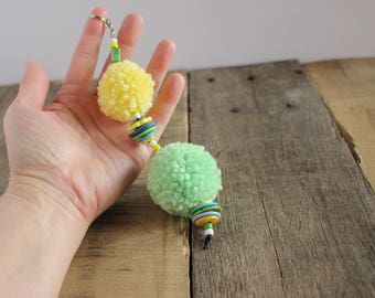 City Wide Rodeo Pom Pom Puff Ball Purse Bag Handbag Planner Zipper Charm Pull, Key Fob Keychain Keyring