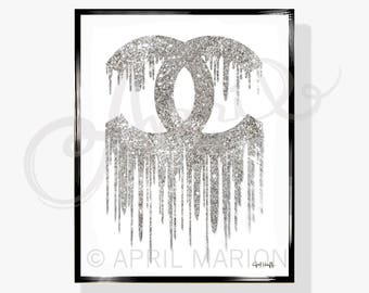 DIGITAL Coco Chanel Drip Logo Print | Fashion Illustration, Silver Glitter, Handmade Drawing, Art, Download Painting, Designer Decor, Women