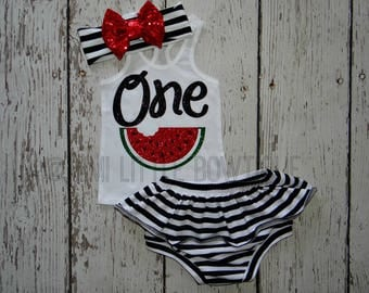 Watermelon First  birthday- White Tank top with Watermelon- 1 st Birthday Outfit- Baby Girl Clothing-Summer tank top- Striped Bloomers set