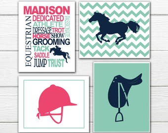 Equestrian Print Set-  Personalized - Horse Print - Canvas Available