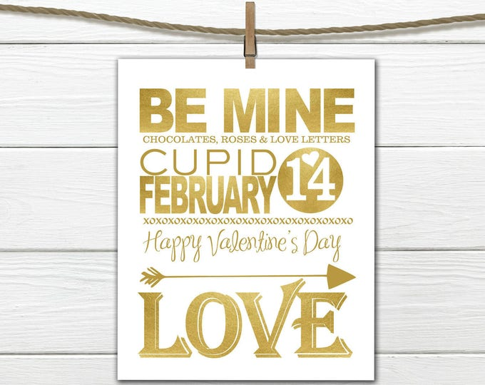 Valentine Decor - GOLD - 8x10 INSTANT DOWNLOAD - Happy Valentine's Day Print
