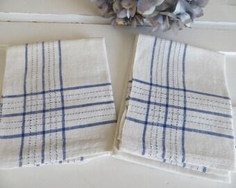 2 Antique Handwoven Linen Towels Blue  Stripes Runner Napkin Wrap Bath Cloth Torchon Laundry Bag Denmark Farmland Two