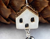 cute necklace, house charm necklace, ceramic and silver necklace, house warming gift, cute quirky gift, where the heart is, folk style