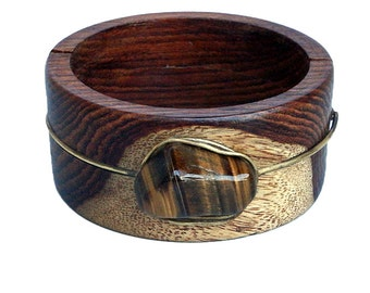 Wood Bangle/Bracelet with Tiger Eye and Brass - Stretchable