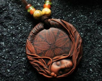 Clay Goddess Necklace with Gemstone and Glass Beads.