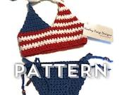 July bikini set for baby - Crochet Pattern - 0-3 months - by Hadley Paige Designs. Boho kids.  Summer wear.