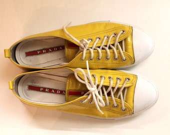 Authentic Prada Shoes Yellow Sneakers Size39