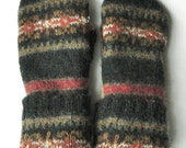 Felted Sweater Mittens - CharcoalGrey/Red/Orange/Khaki - Felted Wool Mittens - Wool Mittens - Womans - Medium