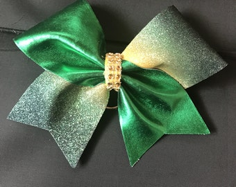 green and gold cheer bow key chain