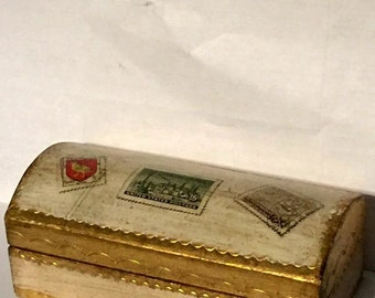 Antique Florentine Stamp BOX Vintage Italian Wood Box Desk Item