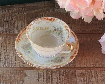Antique Noritake Fine China Linden Tea Cup and Saucer Set Ca. 1930's