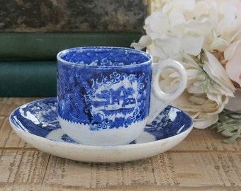 Antique German Flow Blue Tea Cup Saucer Set, Franz Anton Mehlem Malta Ceramic Pattern Bonn Germany Ca. Late 1800's