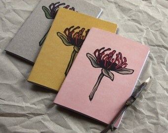 Notebook and Twig Pencil Set, Waratah Linocut Notebook, Made in Australia