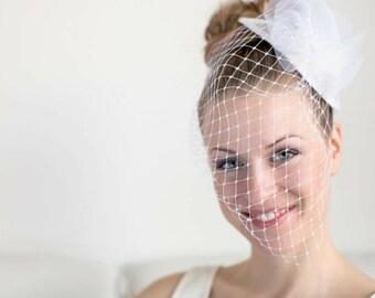 Wedding fascinator with birdcage veil, bridal fascinator birdcage veil, wedding hat, bride wedding hats fascinators, mother of the bride