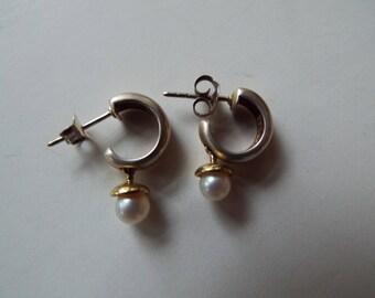 sterling silver  14k gold accent cultured pearl huggie cuff earring open  hoop  pearl drop  earrings