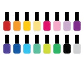 Colorful Nail Polish Clip Art Set | Rainbow Color Vinyl Graphic Design | Digital Illustration Stock Icons | Personal or Commercial Use