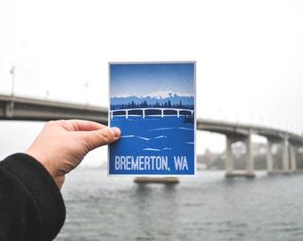 "SALE 50% off - Bremerton Washington Postcard | B-Town & B-Town Lights - 4.25x5.5"""