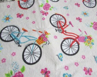 Bicycle, Large flannel receiving blanket, swaddler blanket, baby girl blanket, pretty flowers and bikes & butterflies, reusable gift wrap