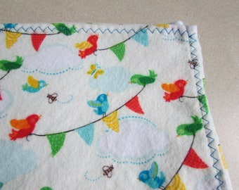 Birdies, Extra large flannel receiving blanket, swaddling blanket, gender neutral, for baby boy or baby girl, reusable gift wrap