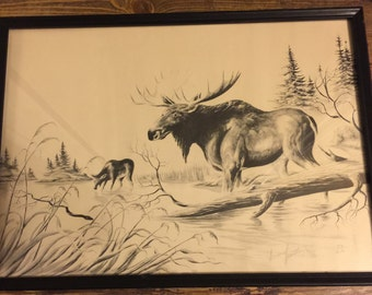 Large Wildlife Print by Greenfeather - Bull Moose and Cow - 1981