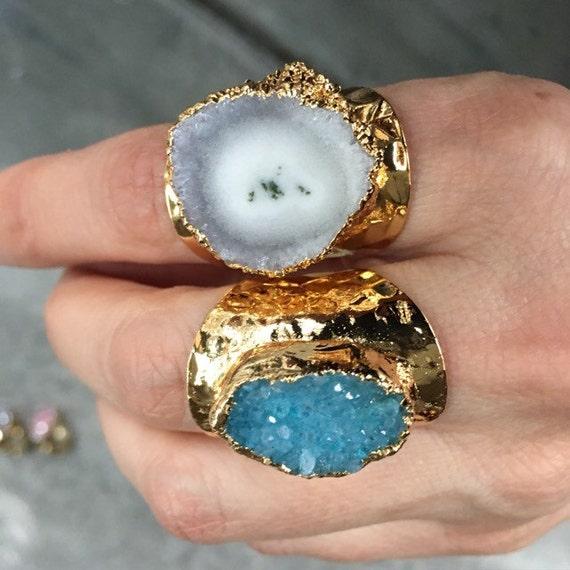 Druzy Rings, Geode Ring, boho jewelry